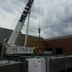 Assembling crane with counterweight. We used 88,000 lbs. of counterweight for this lift.