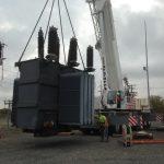 Picking the new 92,000 lb. transformer.