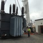 Picking the new 92,000 lb. transformer.