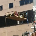 Using our rigging plate to bring in rigging materials to install the air handling unit