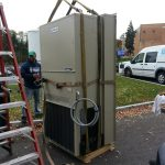 Rigging the new A/C unit. (Front)