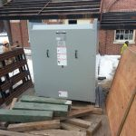 The new transformer we hauled to the jobsite that we had stored in our warehouse.
