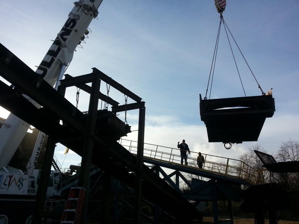 Lifting a 70,000 lb. metal shredder at a local scrap metal yard.