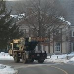 Our crane driving in front of Saratoga Bath House.