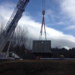 Using our Demag AC200 we set a 77,000 lb. concrete vault.