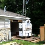 Rigging the old MRI to be hauled away.
