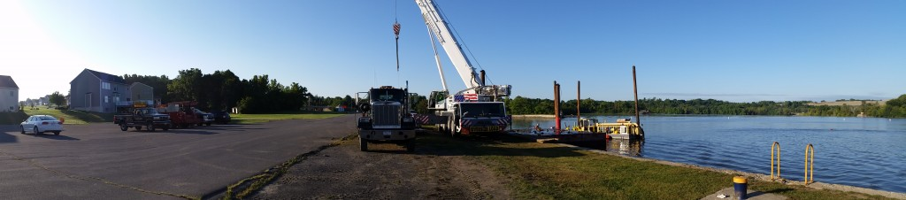 Setting up our Demag AC 200 to take a dredge out of the mohawk river.