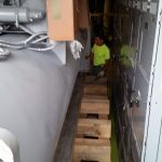 Tight coming through on both sides. There were electrical cabinets on one side and piping on the other.