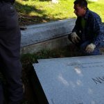 The gravestone weighed 3,500 lbs.