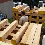 Two wood cribs were built that will be bridged together with a steel plate.