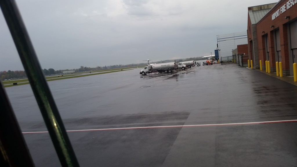 Setting A/C Units at Albany International Airport out on the tarmac.
