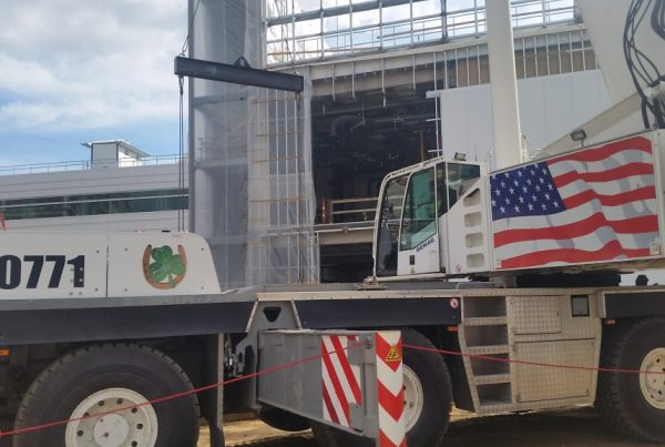 Our 220 ton crane set up at CESTM in Albany, New York setting cooling towers