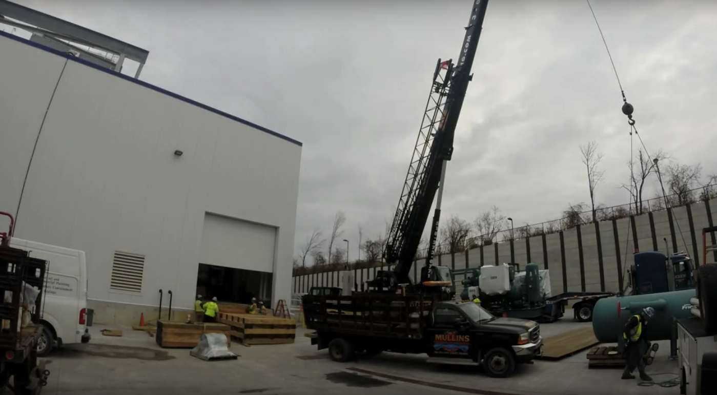 Mullins Rigging Time Lapse Video Installing Chiller at Fage Yogurt Factory in Johnstown NY