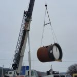 Lifting the boiler.