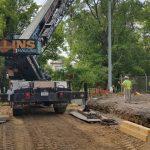 Crane: Link-Belt 822 (Installing precast concrete- Schenectady, NY)