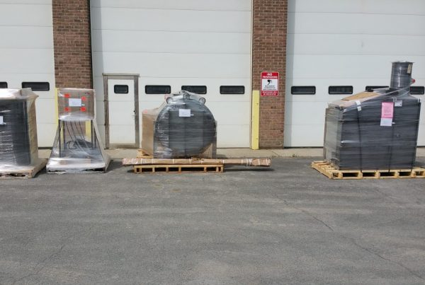 Accepting delivery of dog crematorium we will be installing.