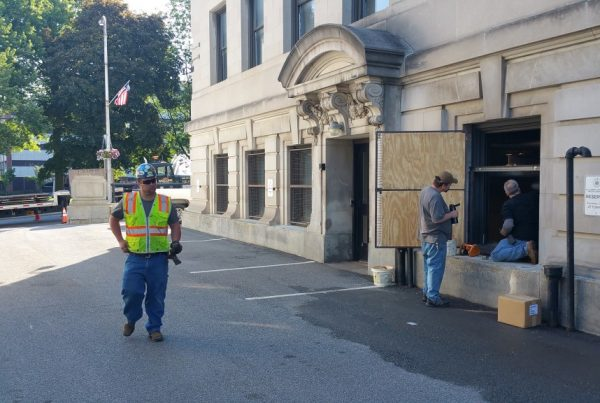 The back alley behind Schenectady County Courthouse where chiller will be installed.