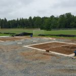 Foundations where prefabricated bathroom and concession stand will sit.