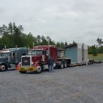 Prefabbed Units arrive by truck.