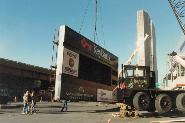 Mullins Rigging erection of sign at Knickerbocker Arena (Key Bank Center, Times Union Center)