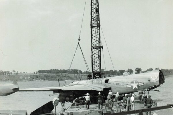 Mullins Rigging B25 Bomber retrieval from Lake Champlain. At time contained classified radar equipment.