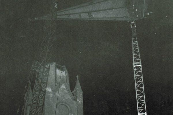 Mullins Rigging removal of St. Augustine's Church Steeple – Troy, N.Y.