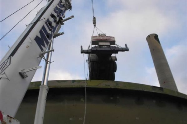 Mullins Rigging lifting of 45 Ton crane into tank (Lafarge cement) to facilitate refurbishment of Agitator system in tank.