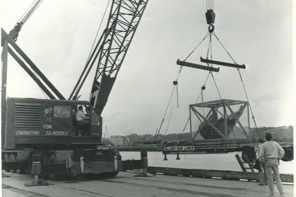 Mullins Rigging unloading and transport of original Statue of Liberty torch.